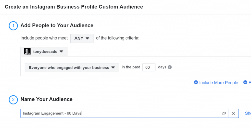 Click Create Audience